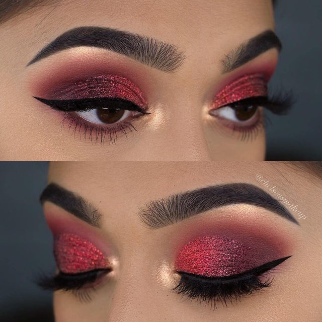 "Keeping it hot and smokey for #valentinesday 🔥 @chelseasmakeup sizzles this look up with our Sinful Lashes. Tap to get the look!  Products Used:  BROWS: @colourpopcosmetics • Brow Boss In ""soft black"" EYES: @hudabeauty • Ruby obsessions palette GLITTER: @glitterrealmco • red and dark red glitter  LINER: @lacolorscosmetics • precise eye marker  LASHES: @velourlashesofficial • ""sinful"""