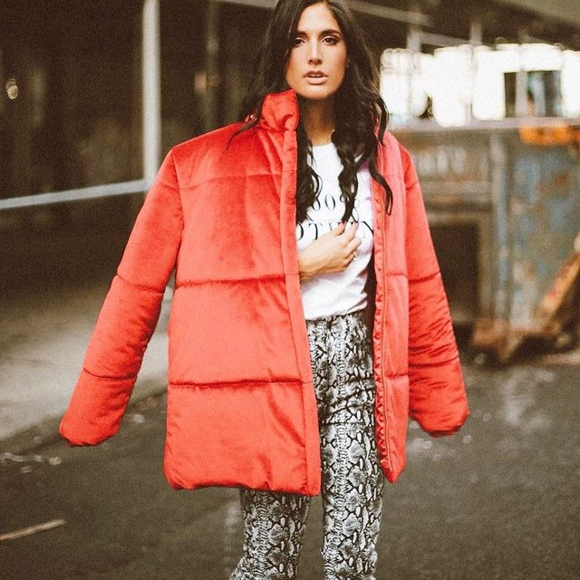 Puffin' into Friday ❤️ #red #puffercoat #velvet #tgif