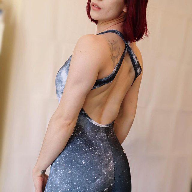 The galaxy got your back @issstagram #blackmilkactive #blackmilk #bmgalaxymonoheroinecatsuit #catsuit