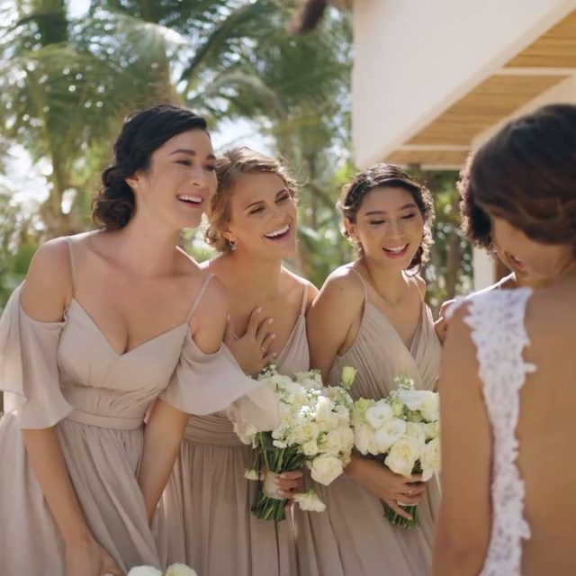 Your #bridetribe will look picture-perfect in these (under $200!) bridesmaid dresses ✨ Tag your girls below ☀️ | Video: @lerevefilms | Planning: @tropical_os | Floral Design: @vanessajaimesfloraldesign | Wedding Dresses: @PninaTornai from @KleinfeldBridal | Bridesmaid Fashion: #kleinfeldbridalparty  |  Groomswear: @theblacktux | Venue: @zorbatulum | H&MU @stylingtrio | Photo: @JacquiCole