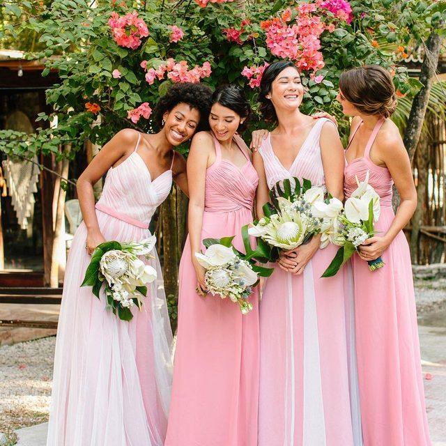 Loving this #bridetribe moment ✨ Click to shop (psssst... these dresses are under $200!) | Photo: @JacquiCole | Planning: @tropical_os | Floral Design: @vanessajaimesfloraldesign | Bridal Fashion: @kleinfeldbridal | Bridesmaid Dresses: @kleinfeldbridalparty | Groomswear: @theblacktux | Video: @LeReveFilms | H&MU @stylingtrio #kleinfeldxtulum