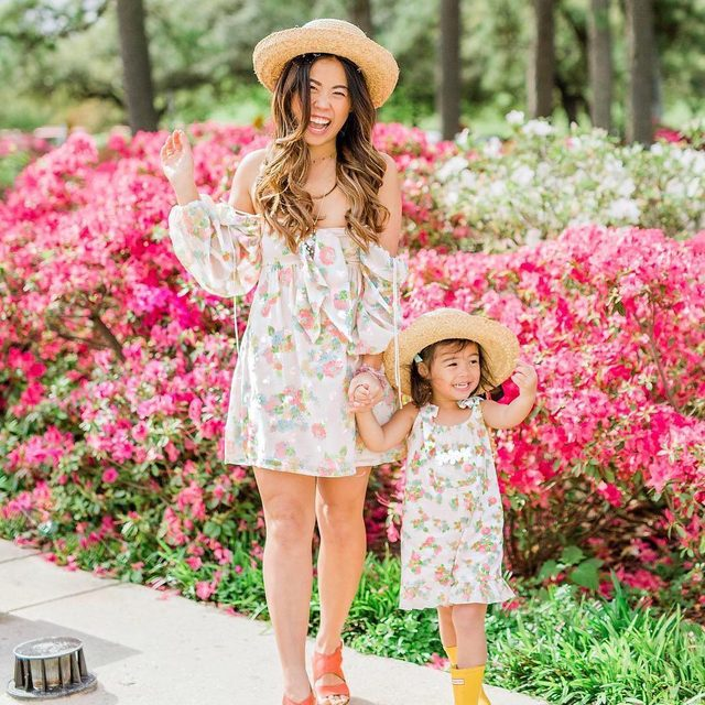 Garden girls  @joyfullygreen in the mommy and me matching spring floral prints