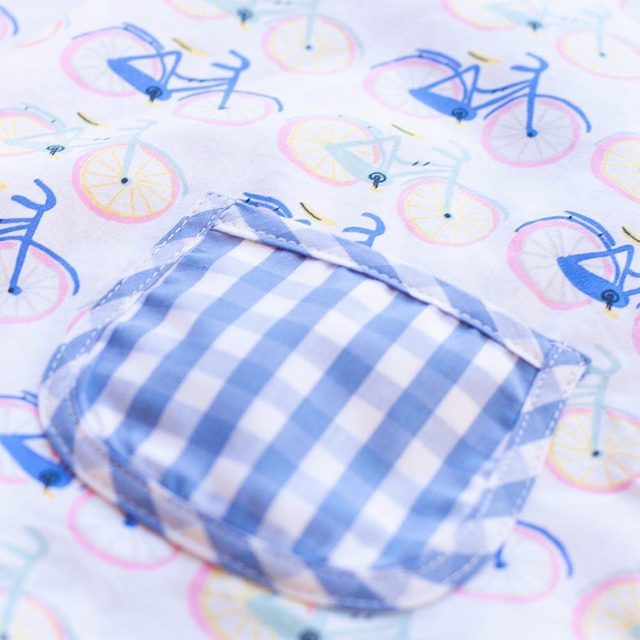 This bicycle print + classic check fabrics..yes, please.