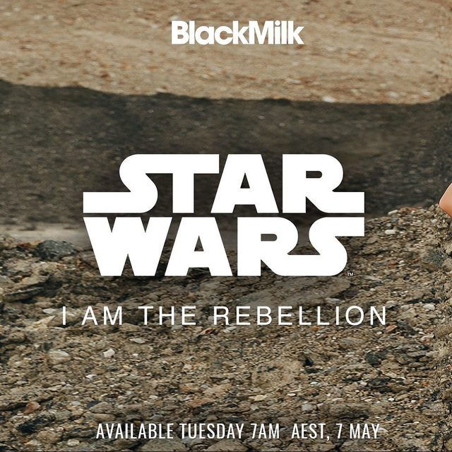 I am the Rebellion. A new Star Wars collection is coming...7am AEST Tues May 7. #blackmilkactive #blackmilkclothing #starwars