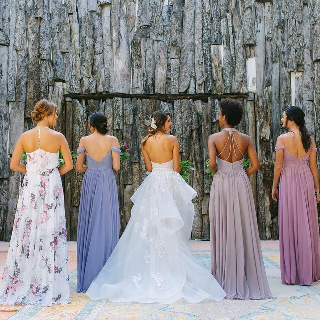 Tag the girls who will always have your back - click to shop these stunning #bridesmaiddresses 💖💖💖 | Photo: @JacquiCole | Planning: @tropical_os | Floral Design: @vanessajaimesfloraldesign | Bridal Fashion: @kleinfeldbridal | Bridesmaid Dresses: @kleinfeldbridalparty | Venue: @casamalca | Video: @LeReveFilms | H&MU @stylingtrio #kleinfeldxtulum