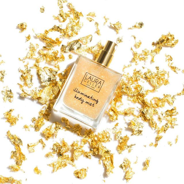 Add some shimmer to your wardrobe! Spritz on shoulders, legs or collarbone for extra sparkle ✨✨✨ #illuminator #shimmer #mist #gold #gilded #laurageller