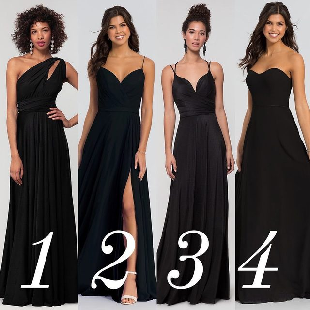 Mix up your all-black-everything with different types of fabrics!  Click to shop @kleinfeldbridalparty ✨