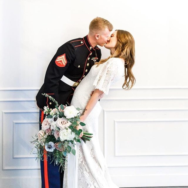 Military weddings have a special place in our heart! (tap to shop the Kieran Gown | #BHLDNbride @shellllbyblock 📸: @adamsphotography.co)