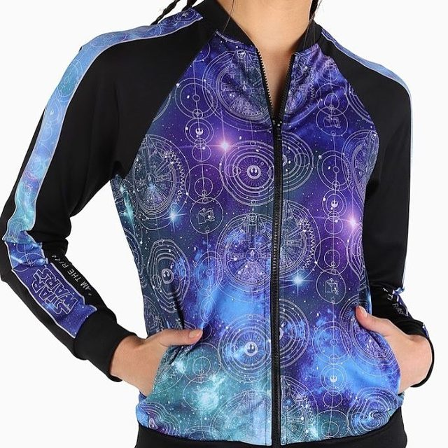 We're all about those details! If you're loving this gorgeous bomber, head to our website! #blackmilkactive #blackmilkclothing #starwars #bmrebelallianceraglanbomber