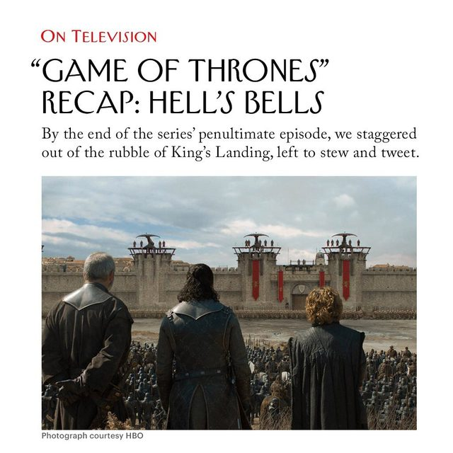 """The final season of """"Game of Thrones"""" reminds @asarahlarson of a certain Magnetic Fields lyric: """"There's an hour of sunshine for a million years of rain, but somehow that always seems to be enough."""" Read her recap of last night's episode at the link in our bio."""
