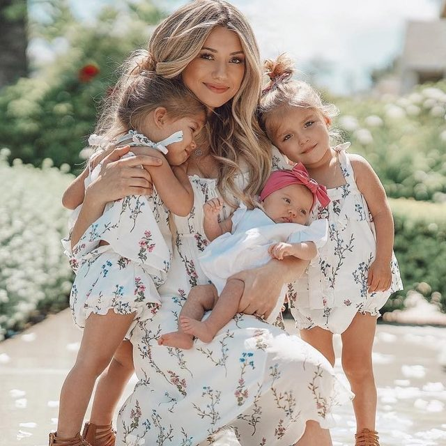 Beauty @madisonbontempo in the Nicola Midi Dress twinning with her cuties @taytumandoakley in the Flower Patch Tank and Bloomer Set 💐