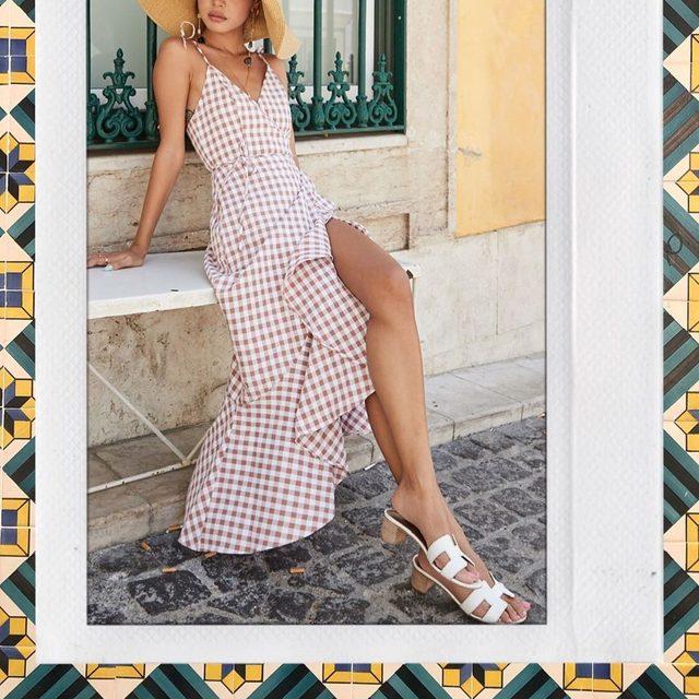 gingham girl ✨ @lilymaymac wearing her @songofstyle Elsa midi dress - tap image to shop! #revolvearoundtheworld #songofstyle