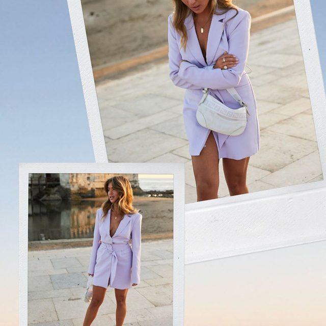 sunset chic 💘 @matildadjerf in her @songofstyle Etta blazer dress - tap image to shop! #revolvearoundtheworld #songofstyle