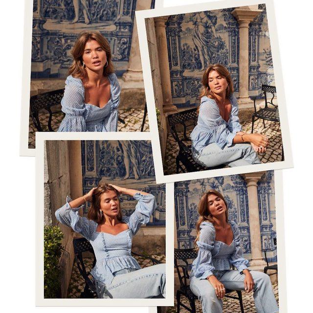 feelin blue 🦋 @matildadjerf wearing @songofstyle Clara top - tap image to shop! #revolvearoundtheworld #songofstyle