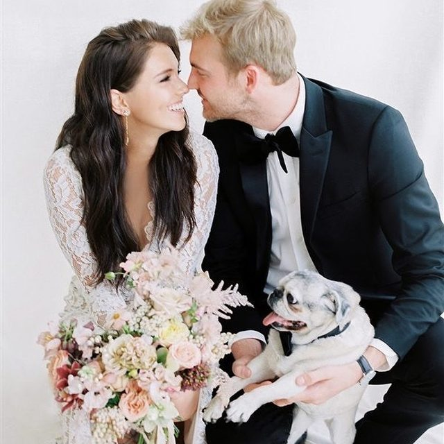 Family FURst! 🐶 (tap to shop the Miraval Gown + Tasmin Drop Earrings | 📸: @hannah.forsberg @emilyclaireevents  @erinvryser @lindsaycolettaflorals @moderngentstyle @_ashtoncraft @saltmodel)