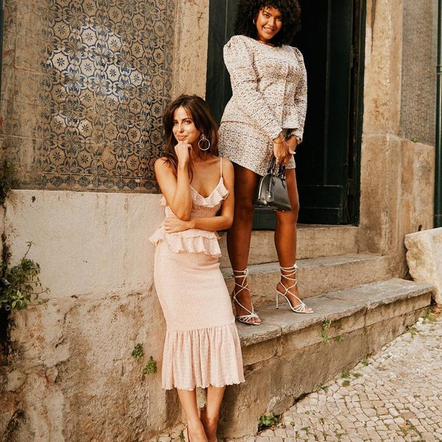 looking pretty in these streets ❤️ @sophiaxsmith in the @songofstyle lucia midi dress + @saffi_karina in the elma jacket top + cloe skort #songofstyle #revolvearoundtheworld