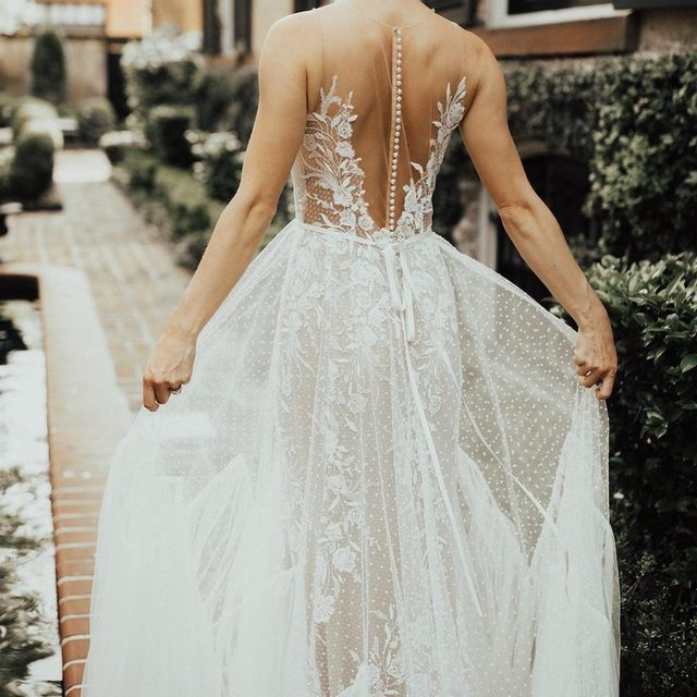 ALL. THE. DETAILS. Our 💫NEW💫 Capricorn Gown is full of effortless tulle & floral embroidery for your perfect day. (tap to shop | 📷: @christyljohnston Bride: @avajohanna) #BHLDNinSavannah