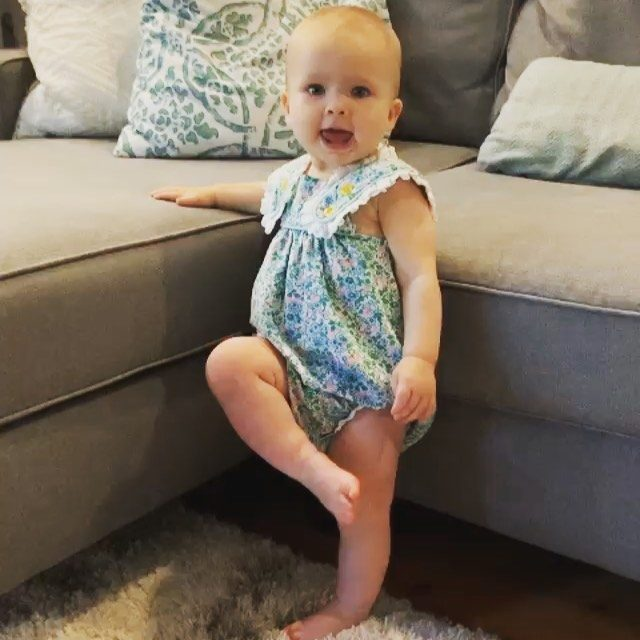 """Our little model, Mae, taking her first steps in her S&GKids! Sound ON ! """"I got it!!"""" 😍😍 @harrisonj6"""