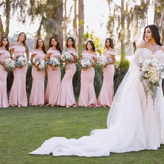 Satin and off-the-shoulder? Yes please! #realwedding | @kleinfeldbridalparty  @victoriaangelaphoto  Style Number: KL-200016