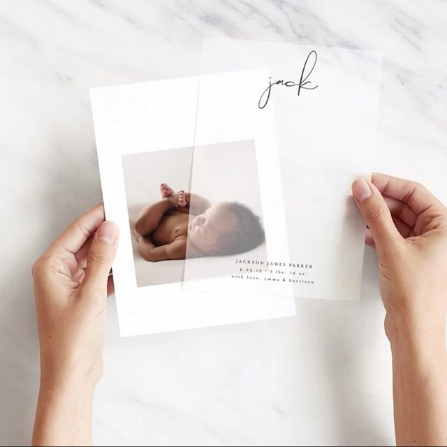 Welcome our newest addition: translucent vellum overlay birth announcements. Add a rich layer of dimension to your cards for a unique and luxurious look. Shop now via the #linkinbio. #MintedLovesMoms — Design by @lehanveenkerdesign.