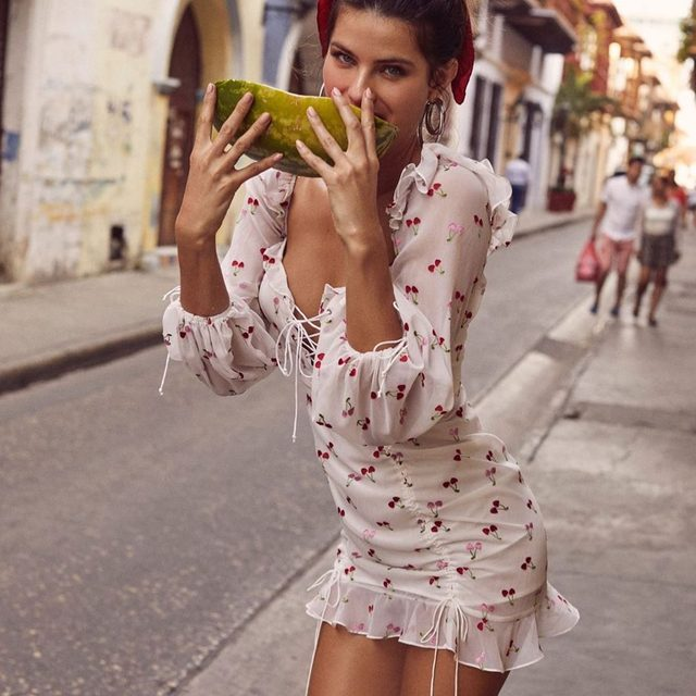 New dreamy #summer19 styles have just hit the site including this cute little #exclusive 🍒 Love our beautiful muse @isabelifontana in the Beaumont Mini Dress.