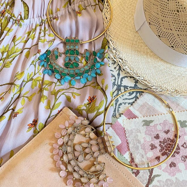 Just arrived to our website our new Agneta necklaces... available in Rose Quartz and Turquoise. Shop link in bio #AERINaccessories