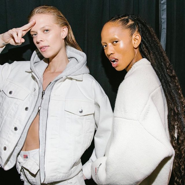 @lexiboling and @adesuwa backstage at @alexanderwangny. Tap the link in our bio for the full collection. Photographed by @coreytenold