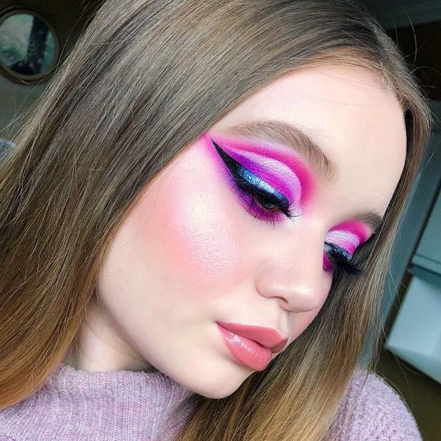 dreamy pink 💕 @ktiemrch used @kajabeauty moon crystal pigment in mystical over her black liquid liner for an iridescent effect, and complimented her look with #rollerglow #highlighter on the tops of cheekbones. Make your next look magical at @Sephora 🦄 #kajabeauty #kajamooncrystal #kbeauty #Sephora #newatSephora