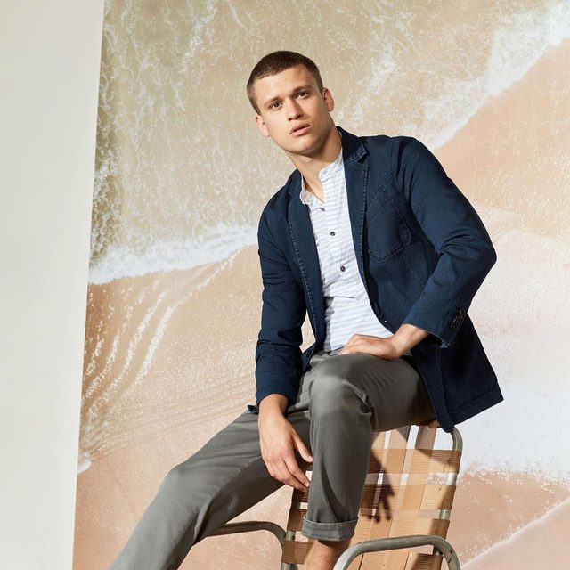 Stay balanced by pairing an item blazer with a casual jean.