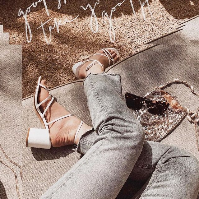 Good shoes also get you, lots of compliments. @caitlinbea in the Hours sandal. #rayeallday