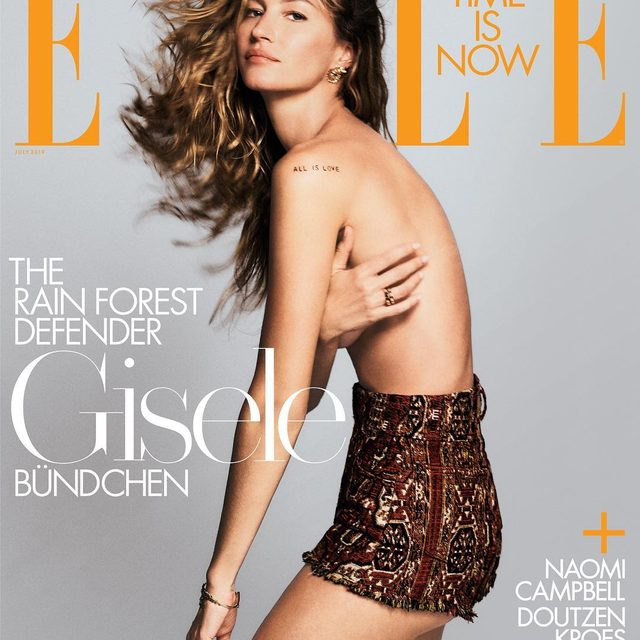 """For our July issue, ELLE partnered with @conservationorg to highlight the urgency to act on climate change: For @gisele, it started with a 2004 visit to Brazil's Xingu region, where she witnessed the problems caused by river pollution. """"From that moment, I knew I had to do something,"""" she said. """"I've been advocating for social and environmental causes ever since,"""" including clean water, reforestation, wildlife preservation, and clean energy. """"After all, our survival depends on it."""" Link in bio for the July cover story.  ELLE July 2019: Editor-in-chief: @ninagarcia Cover star: @gisele  Photographer: @chriscolls Styled by: @ilona_hamer Written by: @niquepeeks"""