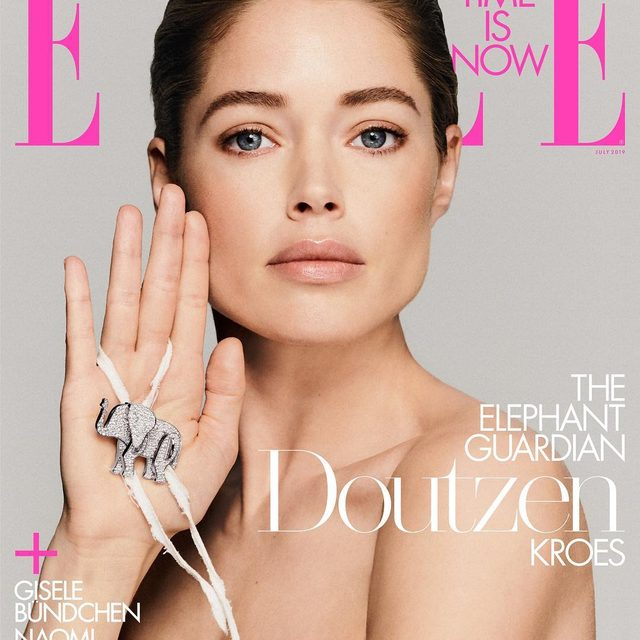 """After a trip to Kenya's Samburu National Reserve, @doutzen fell in love with elephants—and learned how poaching was decimating their population. """"I came back with so much anger, but also so much awareness about how we have to put a stop to this,"""" Kroes says. Post-trip, she signed on as a global ambassador for the charity, @knotonmyplanet. """"Human beings tie knots to not forget about things, and elephants are known to never forget about anything,"""" she says. """"But we are forgetting about them."""" Link in bio for the July cover story.  ELLE July 2019: Editor-in-chief: @ninagarcia Written by: @niquepeeks Photographer: @chriscolls Stylist: @ilona_hamer Cover star: @doutzen @knotonmyplanet @tiffanyandco"""