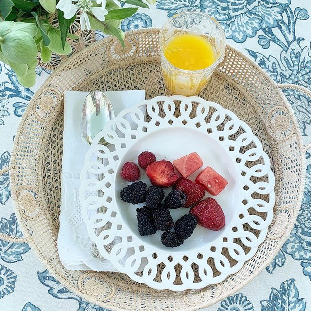 Our new wicker tray is perfect for breakfast for one. The tray is also a great hostess gif, easy and pretty to mix with anything. Wicker tray and plate available  on AERIN.com