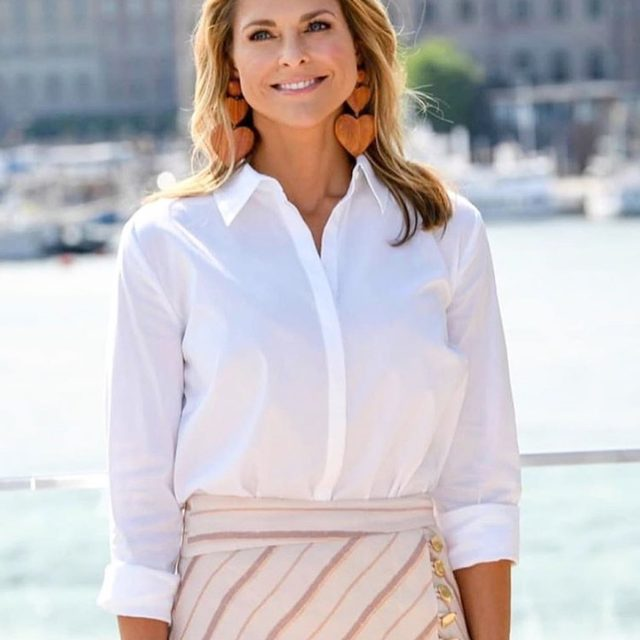 Princess Madeleine of Sweden in our exclusive @rderavenel heart wood earrings... love your style