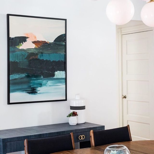 """Boston designer @lawless_design gives her client's walls a pop of color and texture with @houseofboysdesign's """"Curaçao."""" #MintedArt"""