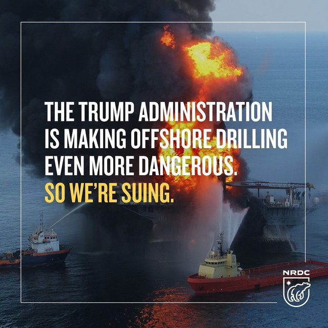 """BREAKING: NRDC and nine other environmental groups (@earthjustice @sierraclub @healthygulf @centerforbiodiv @defendersofwildlife @foe_us @nccoastalfed @conservationleague) are suing the Trump administration to challenge rollbacks of the 2016 Well Control and Blowout Preventer Rule.  The rule set safeguards to prevent another blowout like the 2010 BP disaster.  This lawsuit seeks to restore protections put in place after the 2010 BP blowout that killed 11 men, spewed over 130 million gallons of toxic crude into the Gulf, and polluted 1,300 miles of shoreline. """"The well control rule was one of the most important measures we took, as a nation, to reduce the risk of another BP-style disaster at sea,"""" NRDC's Director of Strategic Engagement, Bob Deans.  Learn more at the link in our profile! #OffshoreDrilling #ProtectOurCoast #Oceans #Drilling #BP #BPspill #BPdisaster #DeepwaterHorizon"""