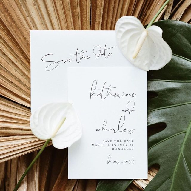 """Destination: Hawaii 🌺Photographer + lifestyle blogger @katherine_lou shares her tips and tricks when selecting the perfect save the date design for your wedding day. Tap the #linkinbio to learn more + shop @mintedweddings during the Summer Wedding Event. #MintedWeddings #weddingwednesday — """"A Few Words"""" save the date design by Susan Brown."""