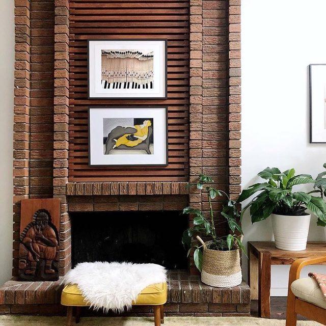 Inspired by #MintedArtist's @miriamtribe's corner of her cheerful home. #MintedArt pair by @maryjamesketch + @atmucontinent.