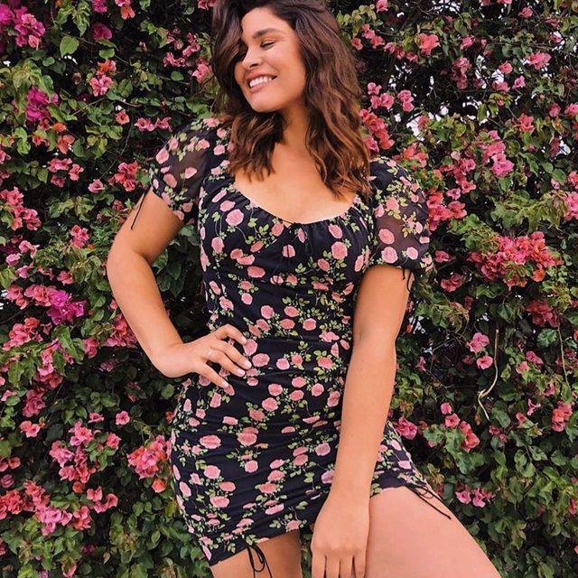 Stunner @bellaagolden is prettier than flowers in the Biscotti Shirred Mini Dress | #summer19