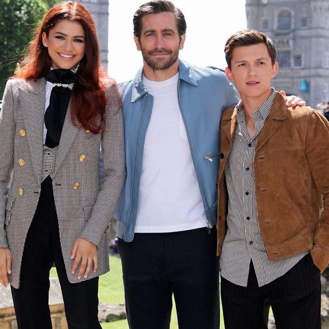 The #FarFromHome cast just got our spidey sense tingling—did Zendaya just debut Mary-Jane's iconic red hair?! (📸: Getty Images)