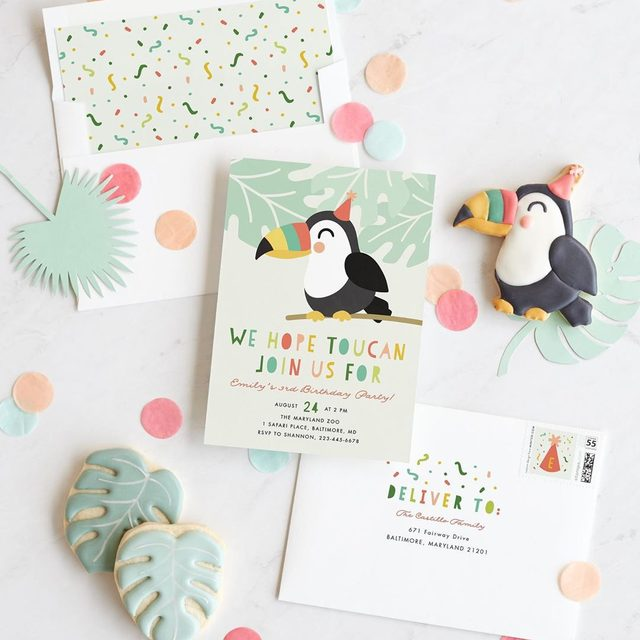 """Two words: Birthday. Cookies. 🎉 We partnered with baker @frostyourcookie to create sweet treats to pair with our unique children's birthday party designs for a bash they won't forget. Head to our Stories for more fun inspo. #MintedCookiesCards — """"Toucan"""" design by @inkandletter."""