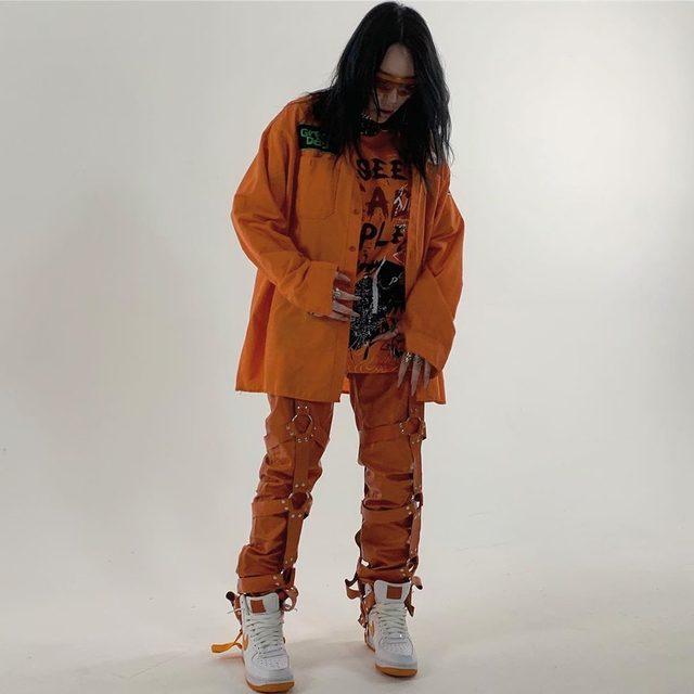 Bad Guy, but make it orange. An official Billie Eilish appreciation post. 🧡 (📸: @billieeilish)
