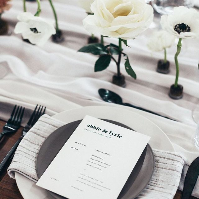 "The most perfect moody + modern tablescape. ""Letters"" @mintedweddings menu card design @joann_jinks. #MintedWeddings #WeddingWednesday — Photo @hillarytaylorphoto | Planner @konsideritdoneweddings"