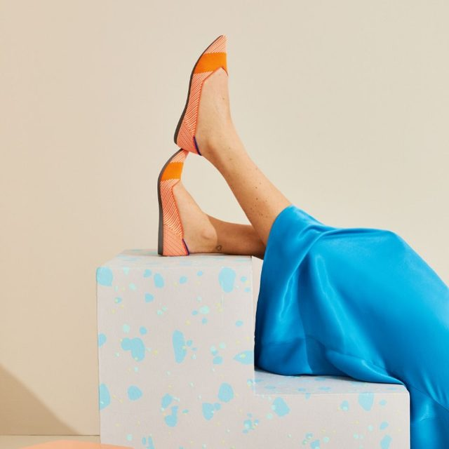 These bright shoes effortlessly mix color and pattern.