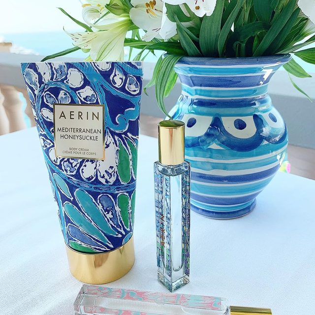 AERIN Beauty Italian inspired fragrances Mediterranean Honeysuckle and Aegea Blossom feeling right at home... love roller balls for travel. #AERINbeauty