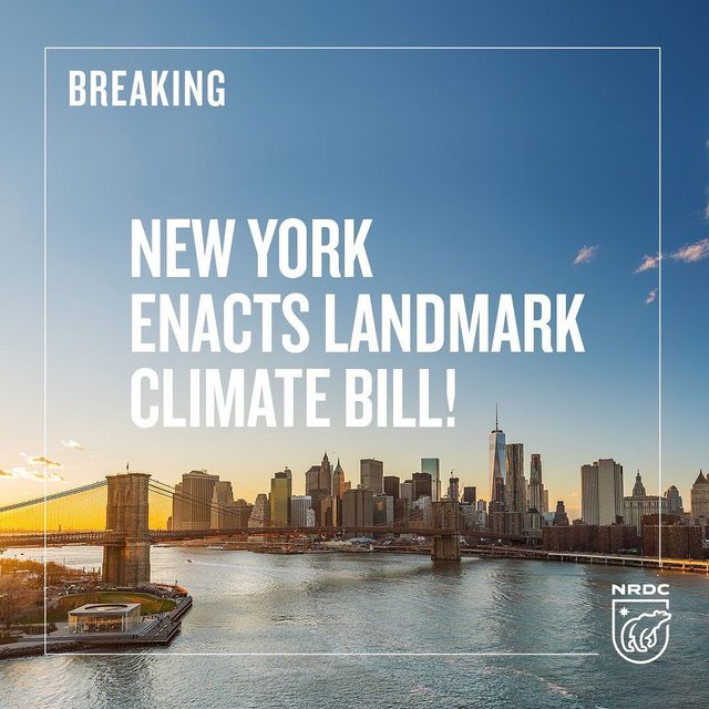 Last week, New York lawmakers and @NYGovCuomo passed the most aggressive climate bill in the nation! 🎉 🙌  This landmark bill sets the strongest greenhouse gas emission limits in the country while prioritizing the most at-risk communities. 🏘️🏙️ New York is now in a league of its own on #ClimateAction! 🌎💚 Link in bio for more info! - - - - #ClimateChange #ActOnClimate #ClimateCrisis #NYPolitics #NewYork #NYC #NY