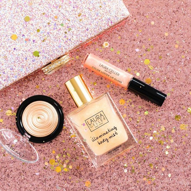 Shimmer Shimmer! Gilded Honey in three variations: Baked Gelato Swirl Illuminator, Illuminating Body Mist and Color Luster Lip Gloss Hi-Def Top Coat  #beauty #makeup #gildedhoney #gloss #highlight #illuminator #mist #bodymist