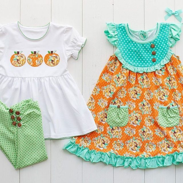 Pumpkin patch outfits, which one is more your style? {available July 18th}