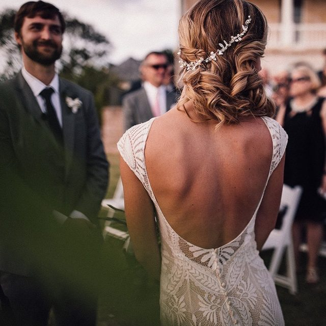 Whimsical lace + an open back gives our Ludlow Gown the best kind of modern edge ✨ (tap to shop the look | 📷: @samueldockerphotography 👰: @caseyfjohnson)