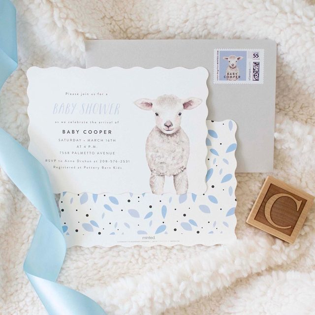 """Party planner @twinkletwinklelittleparty celebrated baby no. 3 with a sweet baby lamb themed shower. Swipe to see more from this adorable bash featuring """"Baby Animal Sheep"""" baby shower invitation design by @cass.loh + """"So Loved"""" foil art by @rachelnanfelt. — Our July 4th Event begins now. ✨ Enjoy 15% off baby + kids orders with code: FIREWORKS19. Ends Mon 7/8 at 11:59pm PT. — Styling + Photos @twinkletwinklelittleparty 